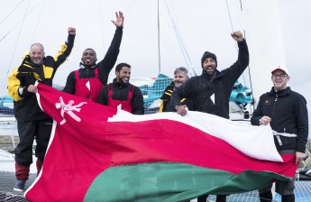 MOD70 Musandam Oman Sail calim line honours in multihull in the Volvo Round Ireland Race 2016